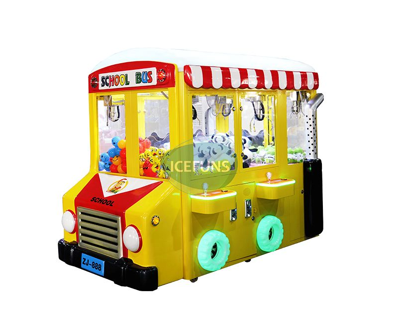 School Bus Toy Grabber Claw Crane Machine For Kids